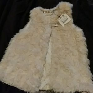 Zara Girls outerwear collection cream fur vest